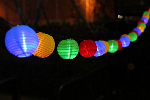 Uping® Solar Lichterkette 20er led Lampion Laterne für Party, Garten, Weihnachten, Halloween, Hochzeit, Beleuchtung Deko in Innen und Außenbereich usw. Wasserdicht 4,5M mehrfarbig [Energieklasse A+++]