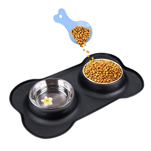 Double Dog Bowls- Stainless Steel 350ml Each Puppy Water and Food Bowl with Non-skid Anti-overflow Silicon Tray Mat for Puppy Dogs, With Pet Food Shovel