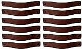 Brute Strength - Ledergriffe Möbel - Kastanienbraun - 12 Stück - 20 x 2,5 cm - enthält 3 Schraubenfarben pro Ledergriff für Küchenschränke - Bad - Schränke