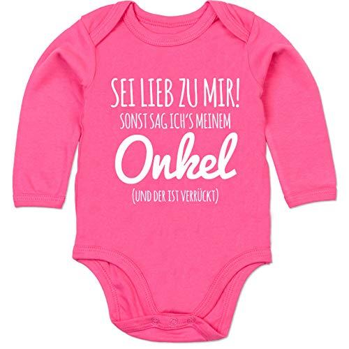 Shirtracer Sprüche Baby - Sei lieb zu Mir sonst sag ichs Meinem Onkel - 3/6 Monate - Fuchsia - Strampler Junge Onkel lustige sprüche - BZ30 - Baby Body Langarm