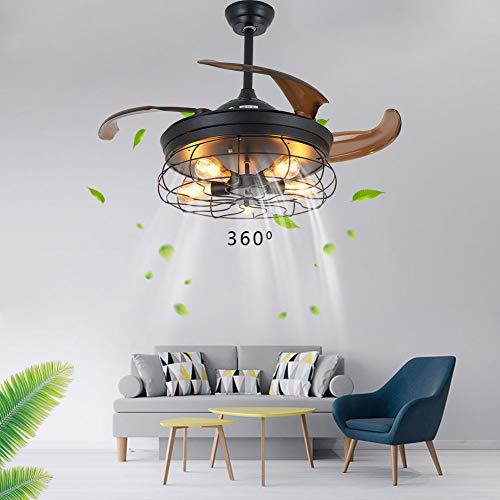 Industrial Deckenlampe mit Ventilator 42' E27 40W Deckenventilator mit Licht und Fernbedienung, 2-in-1 Ventilator Deckenleuchte, Einziehbare Rotorblätter, zum Sommer und Winter