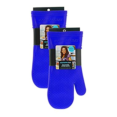 """Rachael Ray Gourmet Silicone Kitchen Oven Mitt/Glove with Quilted Cotton Liner Insulated Pocket, Heat Resistant up to 500 Degrees, Made with Non-Slip, Textured Design, 14"""" Long, Royal Blue 2pk"""