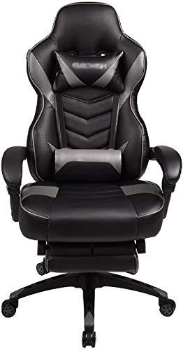 Raelf - Sedia ergonomica da gioco per adulti, sedia da ufficio, girevole, con piedini e schienale alto, in pelle PU, con cuscino e vita (nero + grigio)