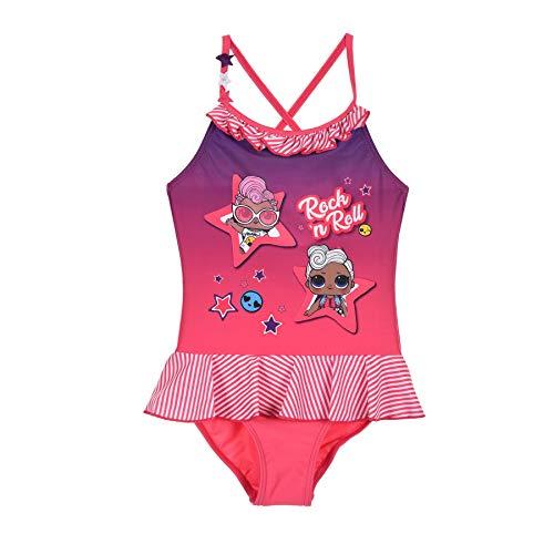 LOL Surprise ! LOL Characters Original Mädchen Badeanzüge Einteiler Bademode Badeanzug mit Rock 4-10 Jahre Gr. 10 Jahre, rose