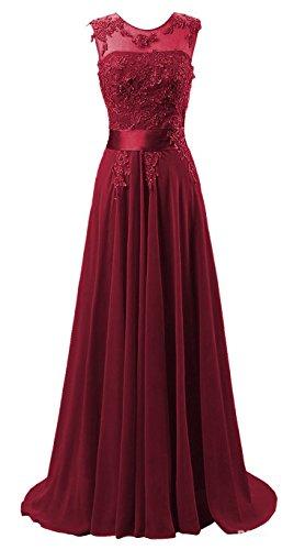 Edaier Damen Lange Chiffon Abendkleid Formales Kleid Größe 36 Burgund