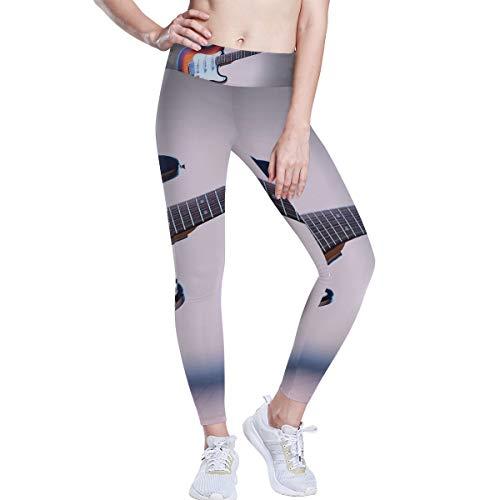 DEZIRO Pantalones de yoga de cintura alta, patrón de guitarra eléctrica, pantalones...