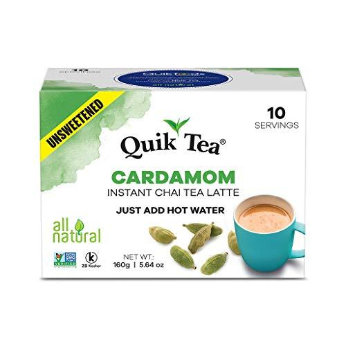 QuikTea Unsweetened Cardamom Chai Tea Latte - 10 Count Single Box - All Natural Preservative Free Authentic Chai