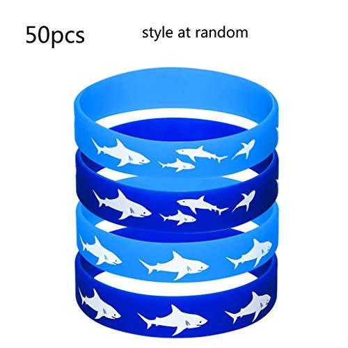 Njuyd - Pulsera popular de goma, 50 unidades, diseño de tiburón, color azul marino, para fiestas