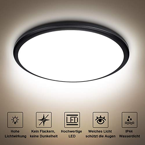 Lámpara LED de techo de 24 W Bedee, para cuarto de baño, salón, impermeable, IP44, para baño, 4000 K, 2040 lm, iluminación de techo [clase energética A + +]
