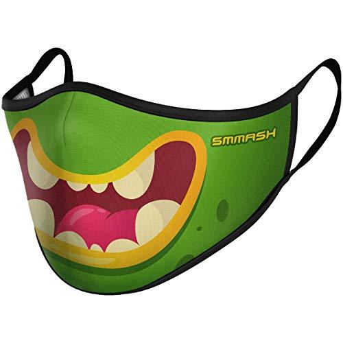 SMMASH Mundschutz Maske Kinder Wiederverwendbar, Hochwertiges Gesichtsmaske Waschbar, für Mädchen und Jungen, Hergestellt in der Europäischen Union (7/12 Jahre, Green Monster)