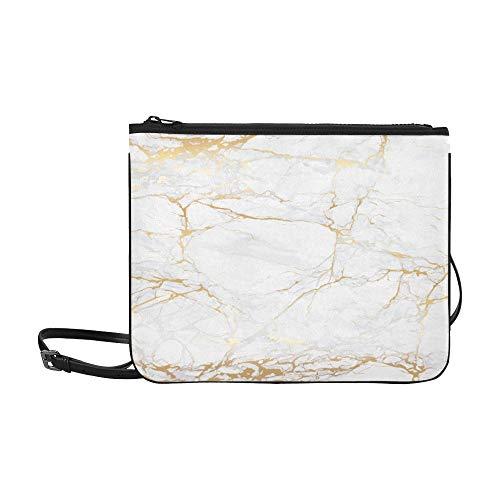 WYYWCY Marmor Weiß Und Textur Fliesen Keramik Muster Benutzerdefinierte hochwertige Nylon Schlanke Handtasche Umhängetasche Umhängetasche