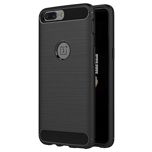 AICEK OnePlus 5 Hülle, Schwarz Silikon Handyhülle für OnePlus 5 Schutzhülle Karbon Optik Soft Hülle (5,5 Zoll)