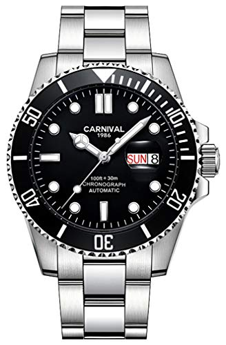 Automatic Watches for Men Luminous Day Date Diver Style Daily Waterproof Analog Dress Watch