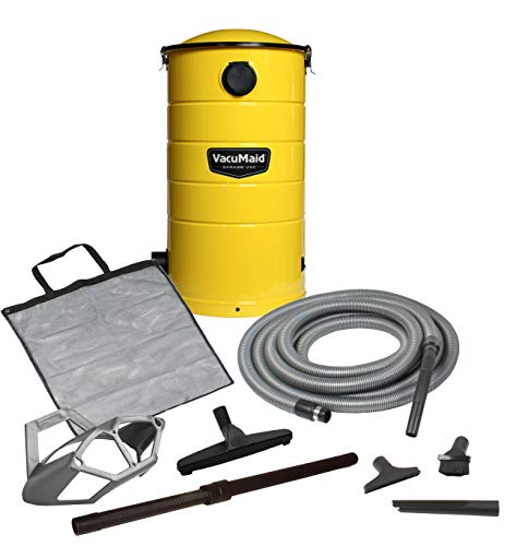 VacuMaid GV50Y Wall Mounted Yellow Garage and Car Vacuum with 50 ft. Hose and Tools.
