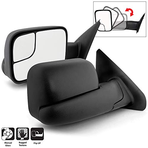 Acanii - Telescoping Towing Extend FlipUp MANUAL Non Heat Mirrors Left+Right For 02-08 Dodge RAM 1500/03-09 2500 3500