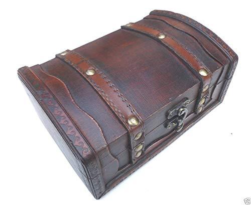EBGS Truhe Bauernkasse Schatzkiste Holzbox Geschenk Aufbewahrung verschließbar mit Deckel