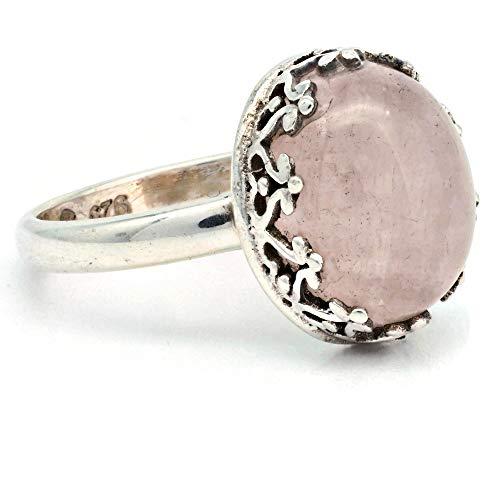 Anillo de plata de ley 925 cuarzo rosa (No: MRI 185)