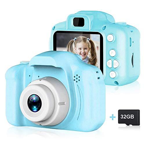 OOOUSE - Fotocamera Digitale per Bambini, da 5,1 cm, Ricaricabile, con Schermo HD e Scheda Micro SD da 32 GB, Ideale Come Regalo di Compleanno per Ragazzi e Ragazze dai 3 ai 10 Anni Blu.