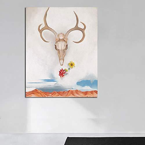 Georgian Schädel Wandmalerei Leinwand Kunst Wohnzimmer Hauptdekoration Moderne Wanddekoration,Rahmenlose Malerei,40x50cm