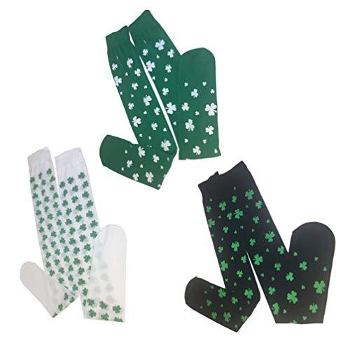 Amosfun 3 Paare st. Patricks Day Socks kleesocken Kniehohe kleeblattstrümpfe Festival Irish Party Dress up zubehör für Frauen kostüm (schwarz grün weiß)