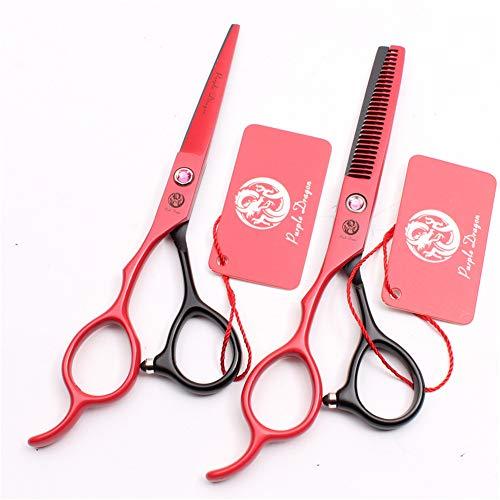 SYLL Juego de Tijeras de peluquería para Zurdos, Tijeras Profesionales para Cortar el Cabello y Tijeras para Adelgazar para peluquería, peluquería o Uso doméstico,5.5 Inches