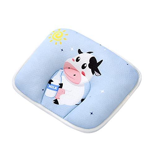 Kaimeilai Almohada de Espuma viscoelástica para bebé, Almohada ortopédica para bebé contra la Cabeza Plana, Almohada de Dibujos Animados para bebé (Azul, Vacas)