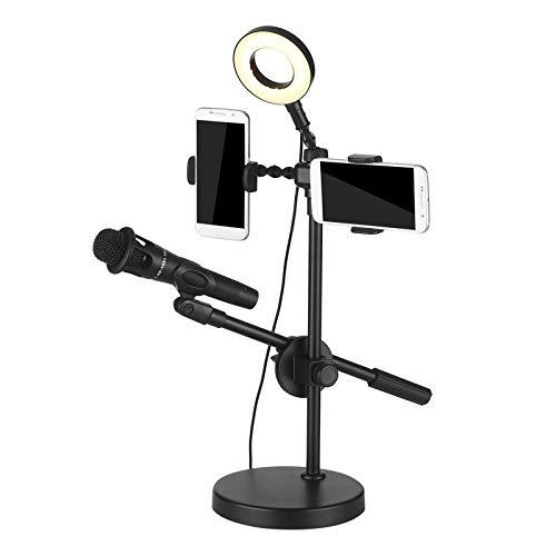 Soporte de micrófono Selfie Luz del anillo con soporte for teléfono y soporte de micrófono 9 Nivel de brillo de 3 modos de luz Soporte de micrófono ajustable ( Color : Black , Size : One size )