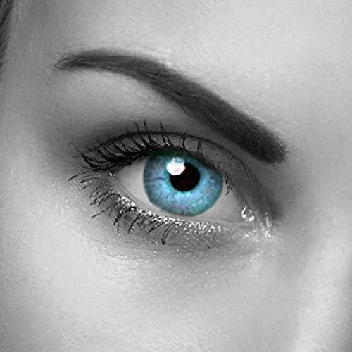 """Farbige Kontaktlinsen\"""" Sky One\"""" Natürliche blaue Augenfarbe- farbige Kontaktlinsen als Jahreslinsen ohne Stärke mit gratis Kontaktlinsenbehälter - für Halloween"""