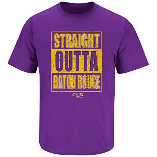 Louisiana Football Fans. Straight Outta Baton Rouge. Purple T-Shirt (Sm-5X) (Short Sleeve, 2XL)