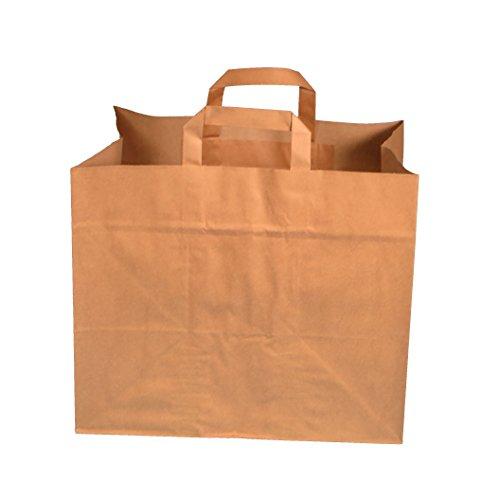 250 Papiertragetaschen Papiertüten Einkaufstüten Bio Tragetaschen braun Kraft mit Papier Flachhenkel verschiedene Größem (32+22x27cm)