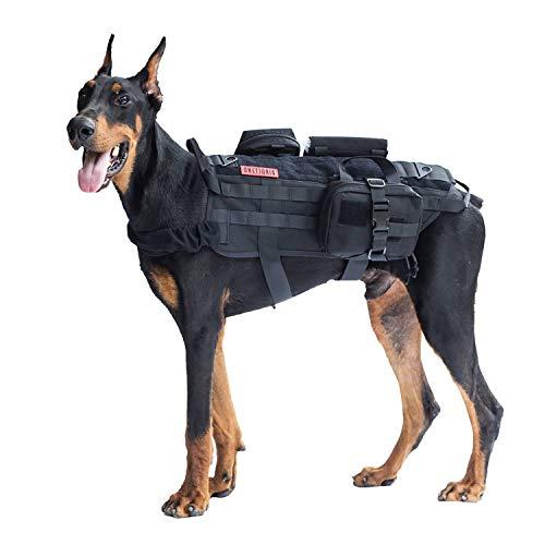OneTigris Tactical Dog Molle Vest Harness Training Dog Vest with Detachable Pouches (Black, Large)