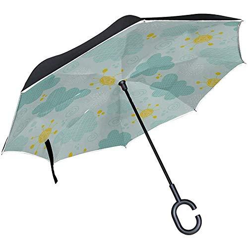 ETGeed Umgekehrter Faltschirm Kompakter Cartoon Kindlich süßer Smiley Sonnenschirm Faltbarer Umgekehrter Regenschirm