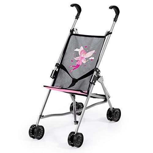Bayer Design- Buggy para muñecas, plegable, con cintura, Color gris, rosa con hada (30566AA)
