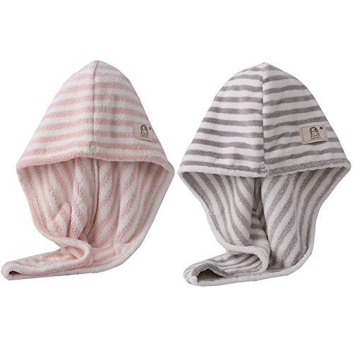 WFF sombrero Sombrero de pelo seco de la toalla de pelo de 2 paquetes, rayas turbante toalla de pelo de microfibra, toalla súper absorbente de secado del cabello con botón para cabello rizado, largo y