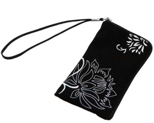 mumbi NEOPREN Zipper Tasche Handytasche Flower Power schwarz bis 12,5 x 6,5 x 1 cm
