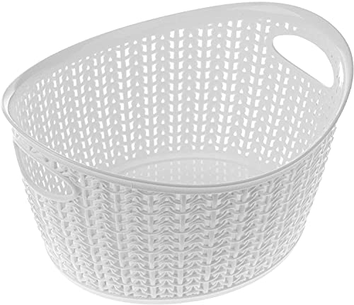 Lusun Cesta de almacenamiento de plástico para baño, cosméticos, toallas, portátil, universal, color blanco (5))