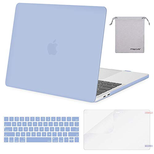 MOSISO MacBook Pro 15 inch Case 2019 2018 2017 2016 Release A1990 A1707, Plastic Hard Shell Case&Keyboard Cover&Screen Protector&Storage Bag Compatible with MacBook Pro 15 Touch Bar, Serenity Blue