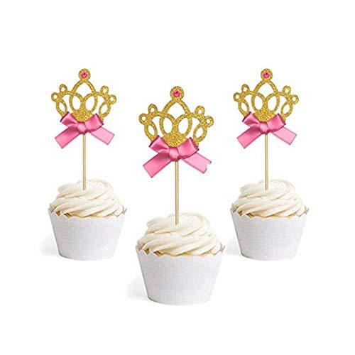 Cake Toppers Picks Liquidation, Gold Glitter Princess Crown Tiara Cake Cupcake Toppers Picks for Party Decor, Moule à gâteau pour Pâques et St Patrick
