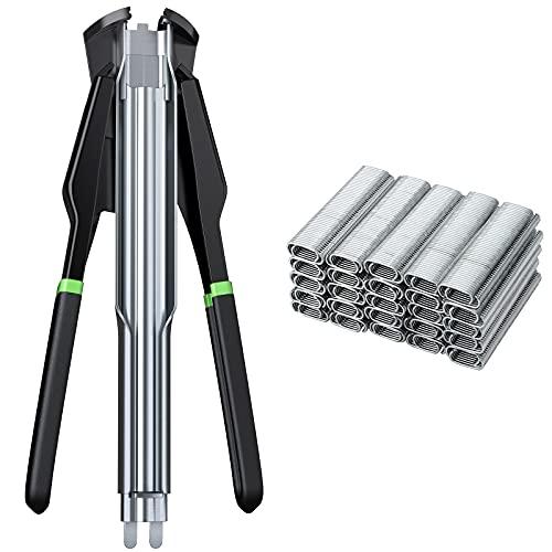 Alicate para Alambradas Alicate Circlip Automatica Cerca Grapadora con 2500PCS de Anillos Tipo C Galvanizados para Redes de Malla y Vallado Jaulas de Macota -Negro