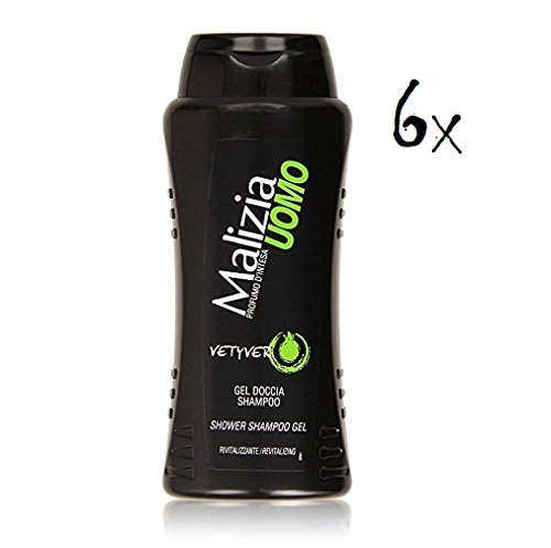 6x MALIZIA UOMO Vetyver - Duschgel & Shampoo 2in1 250ml Duschcreme Shampoo