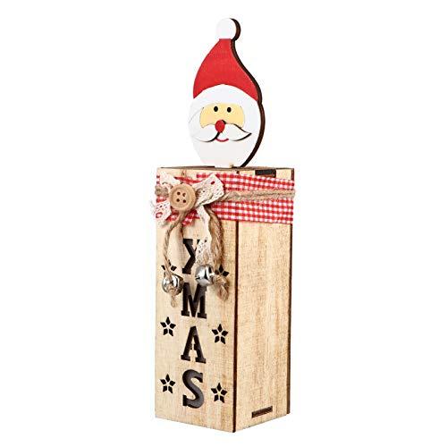 Lâmpada de Natal BESPORTBLE, lâmpada rústica de madeira de Natal, Papai Noel, caixa de lâmpada de madeira, ornamento de Natal, feriados, mesa, luz noturna vermelha