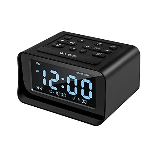 Radio despertador con doble alarma, despertador digital con 2 puertos de carga USB, 0-100 % regulable, temporizador de sueño FM, 6 sonidos de volumen, termómetro interior, función repetidora (negro)