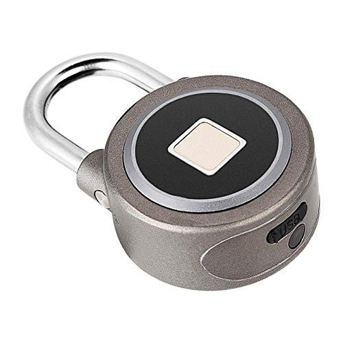 Candado inteligente, carga USB 15 grupos de huellas dactilares Cerradura de huellas dactilares sin llave Cerradura inteligente, para oficina de almacén