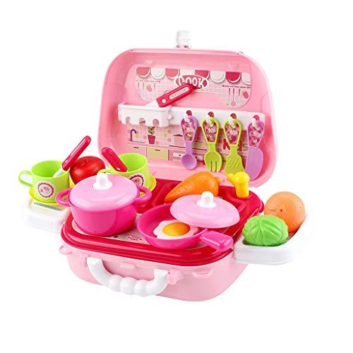 YLLN Juego de utensilios de cocina para niños, 2 en 1, mini utensilios de cocina de simulación, vajilla, bandolera, juego de cocina de rol de chef, juego de cocina, regalo para niños de 1 2 3 4 5 años