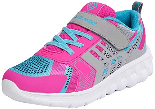 DREAM PAIRS Girls KD18002K Lightweight Breathable Running Athletic Sneakers Shoes Grey Fuchsia Blue, Size 13 M US Little Kid