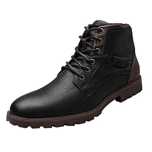 FeiBeauty Herren Kleid Ankle Motorradstiefel Leder Schnürstiefel High-Top Oxfords Chukka Ankle...