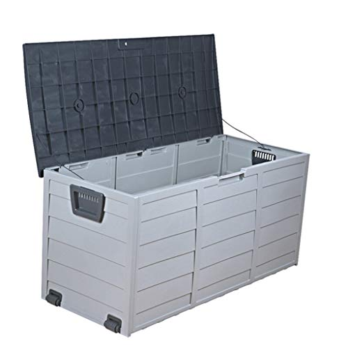 WMQ Horizontal Outdoor Garden Storage Shed for Backyards and Patios,Waterproof Storage Box, Cubic Feet Capacity for GarbageCans, Lawnmower,Tools and Garden Accessories