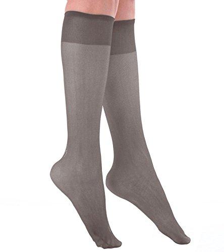 Grandeur Hosiery Women's Ladies Plus Size Queen Sheer Support Knee High Stockings 3-Pack Nude 2X
