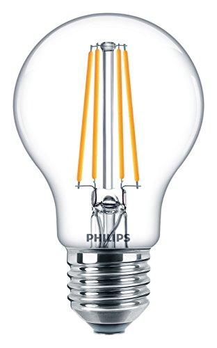 Philips LEDclassic ersetzt 60W, E27, A60, 6-er Pack, warmweiß (2700 Kelvin), 806 Lumen, klar