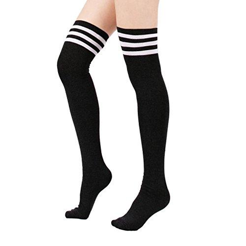 Zando Women's Cotton Athlete Triple Stripe Tights Over The Knee Thigh High Socks Casual Above Knee Socks Black 8-12